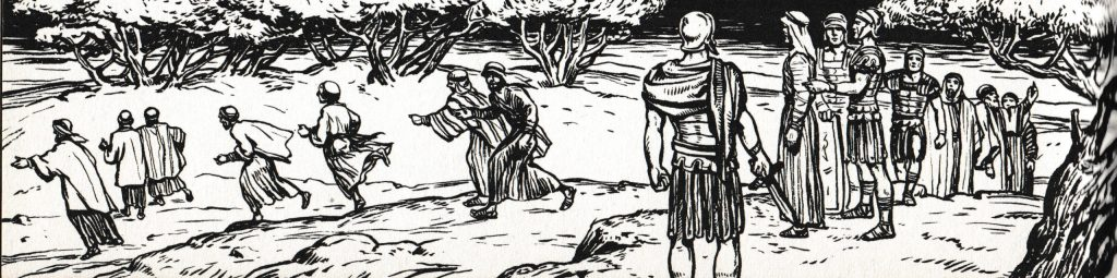 The disciples flee (Matthew 26:56)