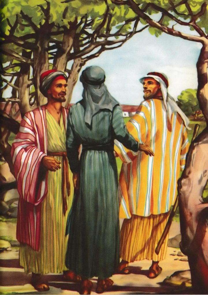 Jesus talks with two disciples on the road to Emmaus (Luke 24:15-27)