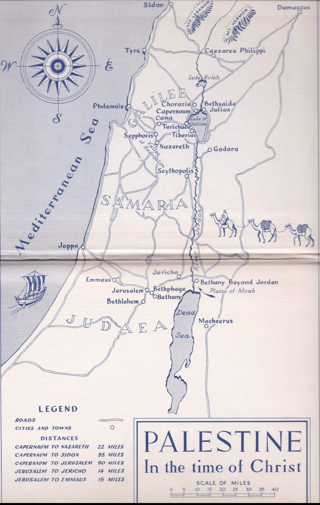 Map of Palestine in the Time of Christ
