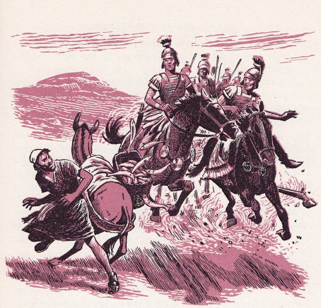 Roman soldiers causing a man and donkey with a load of fish to lose their load (Luke 3:14)