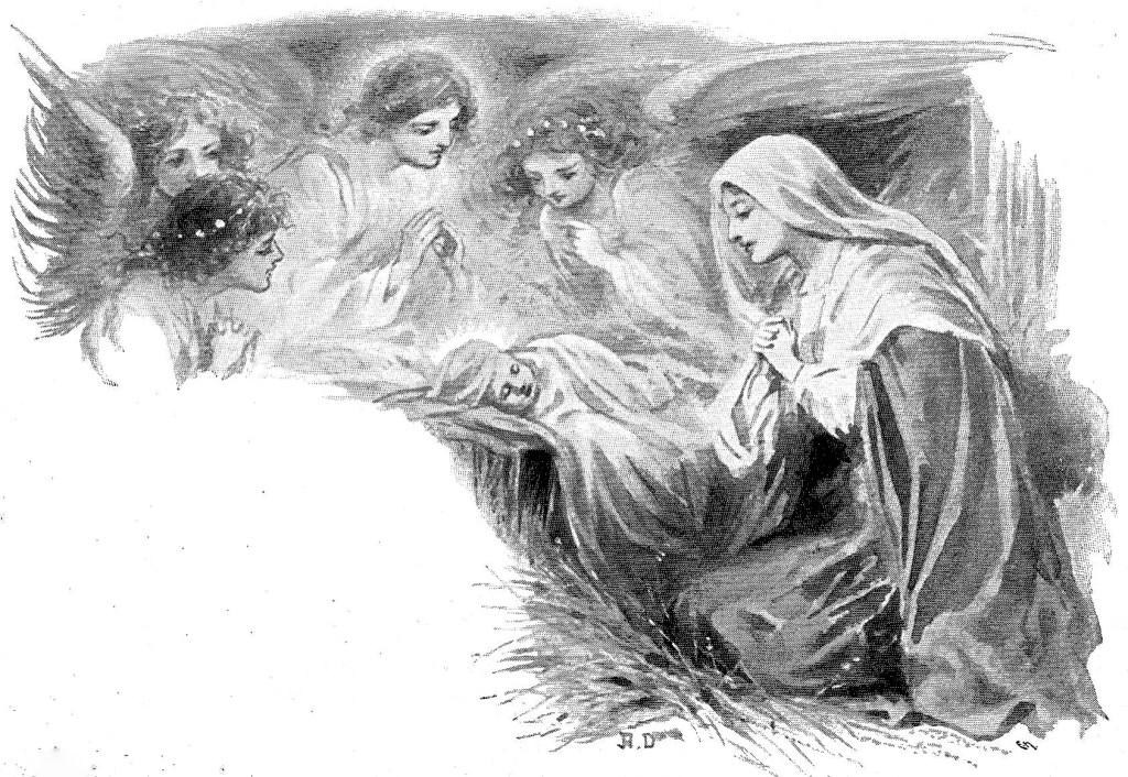 Mary watching the newborn Jesus while angels watch over them - Luke 2:7
