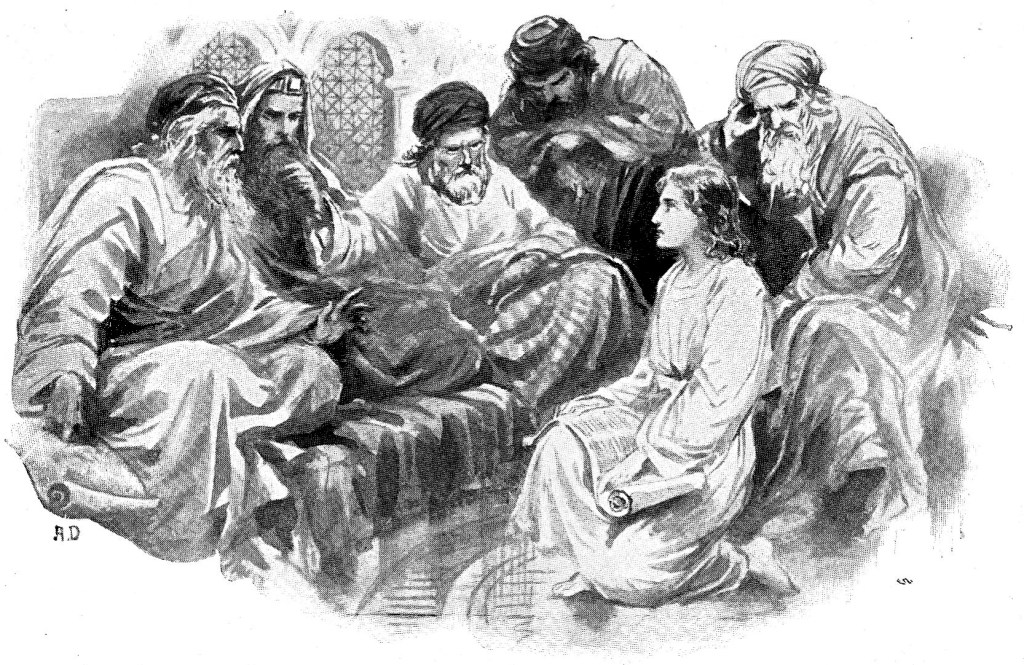 Jesus talking with the teachers in the temple at the age of 12 - Luke 2:46-47