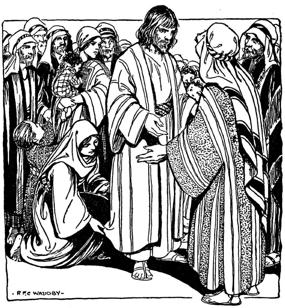 Woman touches the hem of Jesus' garment (Matthew 9:20-21)