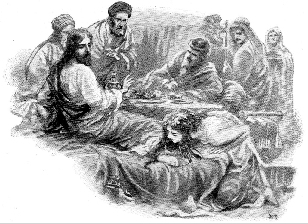 A woman washes Jesus' feet with her tears and dries them with her hair - Luke 7:37-38