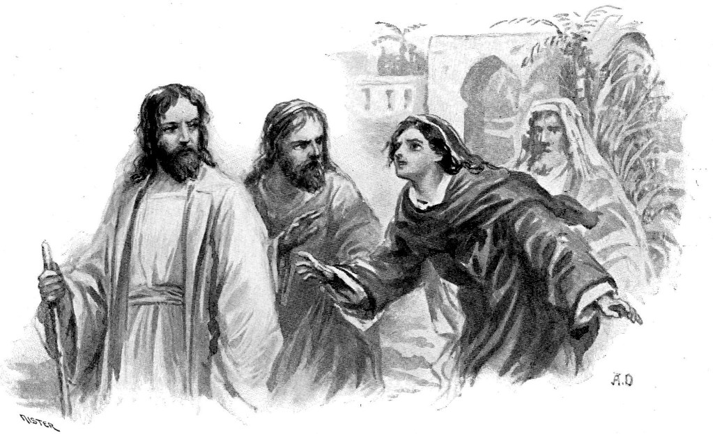 A Canaanite woman begs Jesus to heal her daughter - Matthew 15:22-24