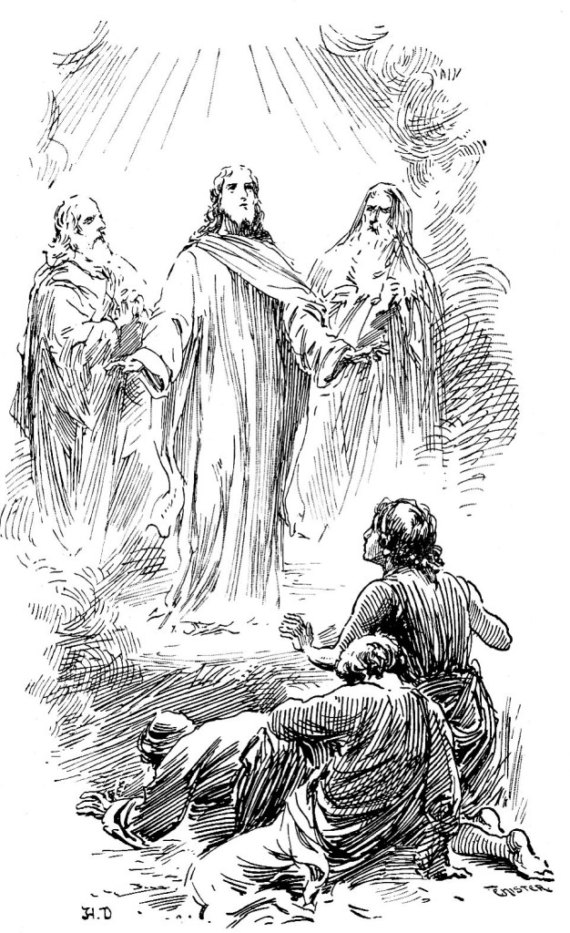 Jesus transfigured on a mountain with Moses and Elijah while Peter, James, and John look on - Matthew 17:1-4