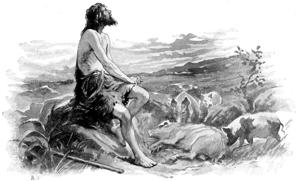 The prodigal son feeding pigs - Luke 15:15-17