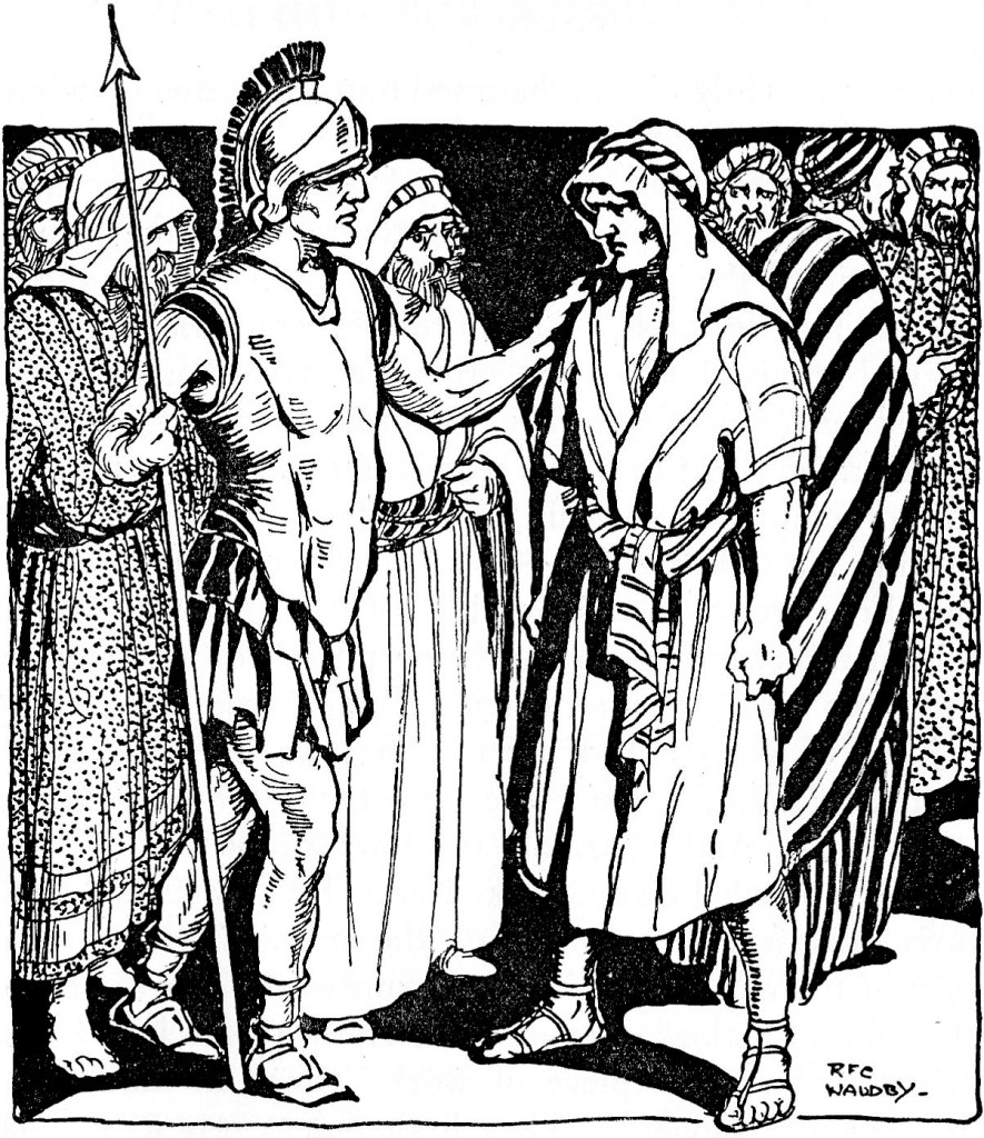 Simon is told to carry Jesus' cross (Matthew 27:32)