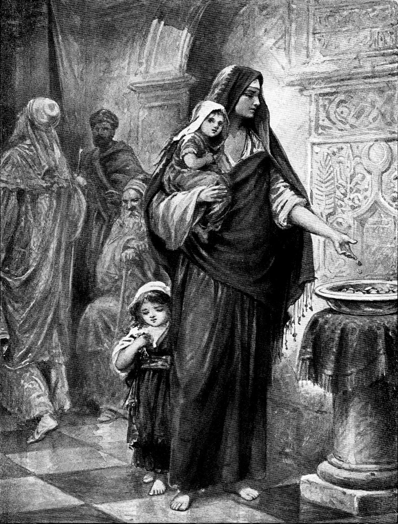 Widow putting in two mites into the Temple's treasury - Mark 12:41-43