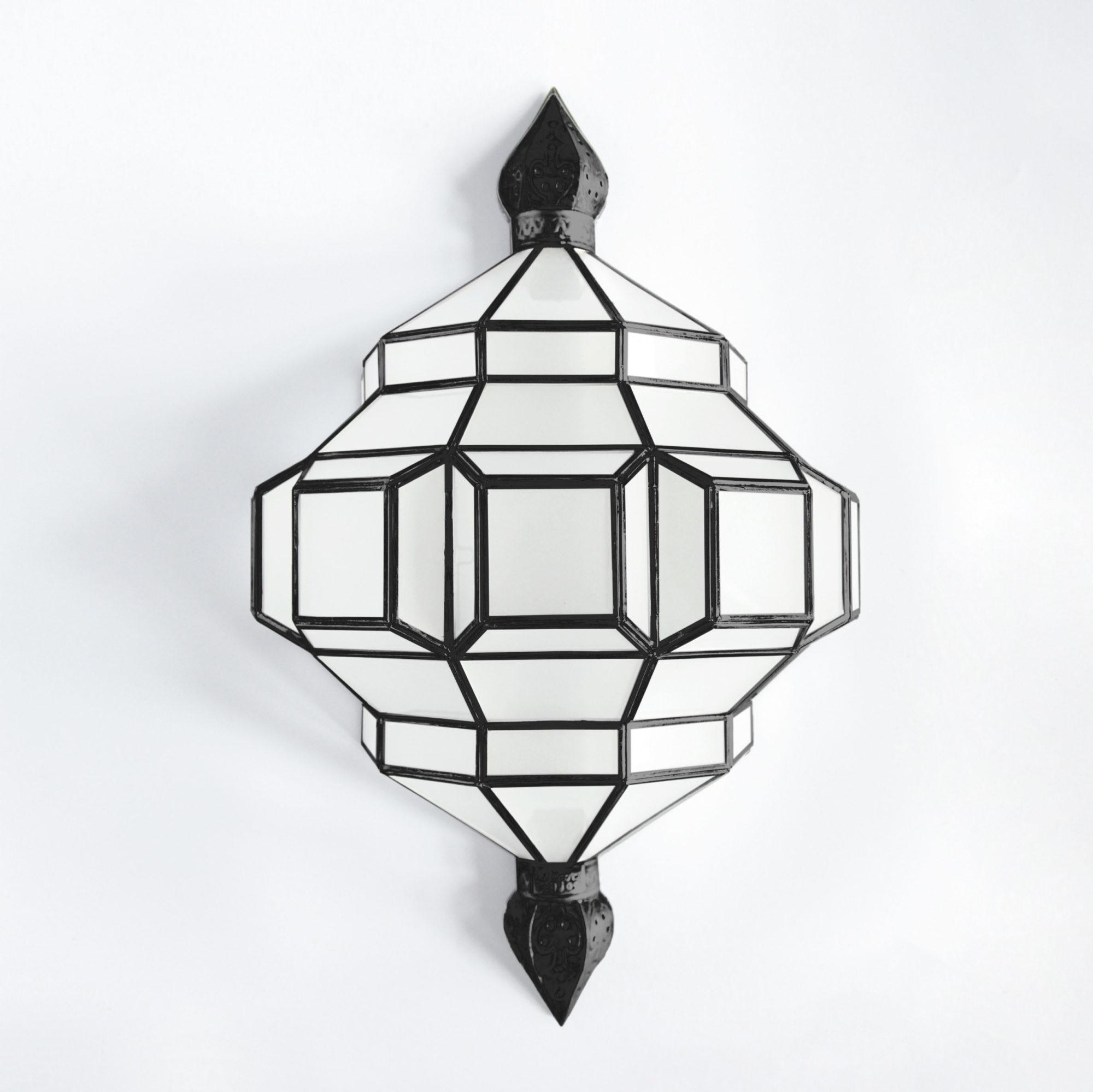 granada lanterns alhambra sconce black satin with milk glass