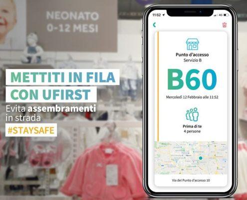 Prénatal Ufirst nuova app tagliacode anti assembramento davanti ai negozi