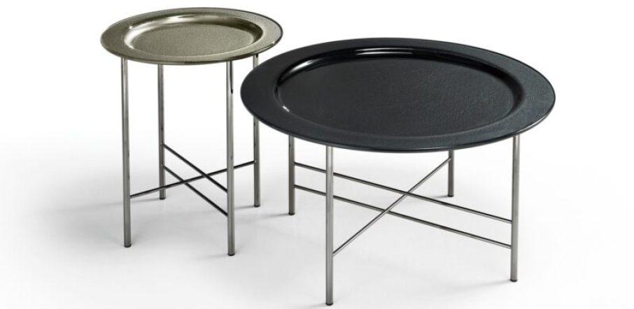 Fiam Italia tavolino EN piano Ø75 retroverniciato Nero Brillante; piano Ø45 retroverniciato Champagne