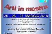"""""""Arti in mostra"""" alla Sala Lepanto – Marino  25 – 26 – 27 MAGGIO 2018"""