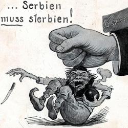 Un manifesto austriaco dell'epoca, contro la Serbia