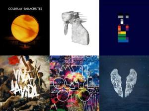 Le copertine degli album pubblicati dai Coldplay