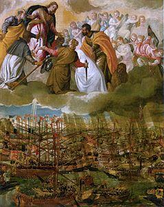 Un quadro di  Paolo Veronese, raffigurante la Battaglia di Lepanto (1571)