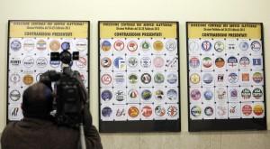 Alcuni simboli elettorali presentati al Viminale, Roma, 13 gennaio 2013. ANSA/FRANCESCA BALDI
