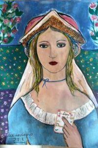 Un dipinto raffigurante Christine de Pizan