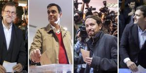 Da sin: Mariano Rajoy, Pedro Sanchez, Pablo Iglesias, Albert Rivera ANSA/ EPA