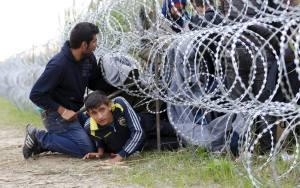 Il filo spinato sulla frontiera ungherese.