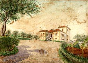 Un acquerello di Casimiro Piccolo raffigurante Villa Piccolo