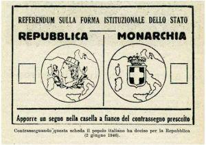 La scheda su cui votarono gli italiani il 2 Giugno del 1946