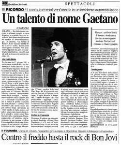 La notizia della morte di Rino Gaetano sui giornali