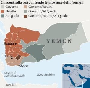 Territori e fazioni nello Yemen