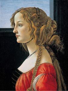 Sandro Botticelli, Ritratto di giovane donna (o ritratto postumo di Simonetta Vespucci, 1476 c.ca, 47.5×35 cm,tempera su tavola, Gemäldegalerie, Berlino)