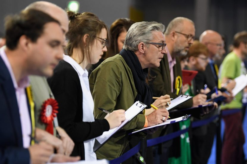 GLASGOW, SCOTLAND - MAY 05:  Electoral agents attend the Glasgow Count as counting of votes gets underway in the Scottish Local Government election at the Emirates Arena on May 5, 2017 in Glasgow, Scotland. The first results in Scotland are expected to be announced mid-morning.  (Photo by Jeff J Mitchell/Getty Images)