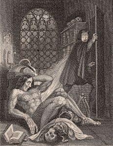 In questa raffigurazione del 1831, il dottor Frankenstein si disgusta della sua creazione