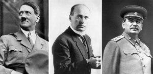 Da sinistra verso destra: l'austriaco naturalizzato tedesco Adolf Hitler (1889-1945), l'italiano Benito Mussolini (1883-1945) e il sovietico bolscevico Iosif Stalin (1878-1953)