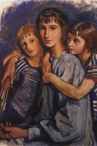 Autoritratto con le figlie, 1921