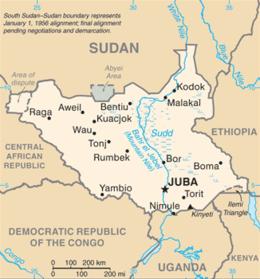 Cartina politica del Sud Sudan