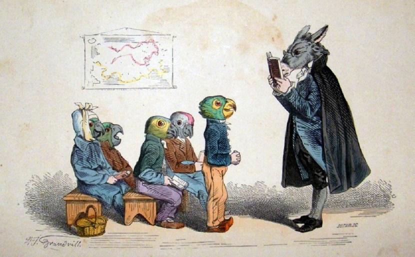 grandville-metamorpheses-c1860-hand-col-print.-student-parrots-master-donkey-2-34461-p___