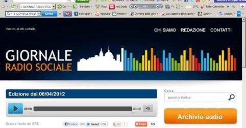 Il Giornale Radio Sociale in diretta su 36 radio italiane