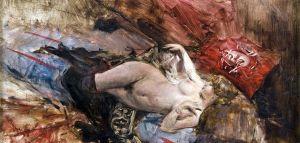 """""""Nudo di giovane donna con calze nere"""" di Enrico Boldini"""