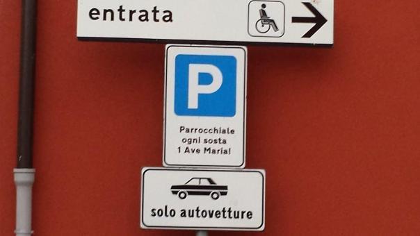 Rovetta- il parcheggio davanti alla chiesa costa  1 Ave Maria
