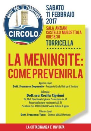 """Torricella , incontro-dibattito """"La meningite: come prevenirla?"""""""