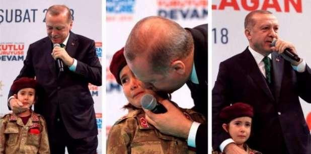 La follia che si traveste di potere. Erdogan fa piangere una bambina augurandole di morire da martire