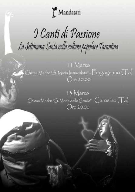 """11 marzo - I MANDATARI in """"I Canti di Passione - la Settimana Santa nella cultura popolare tarantina"""""""