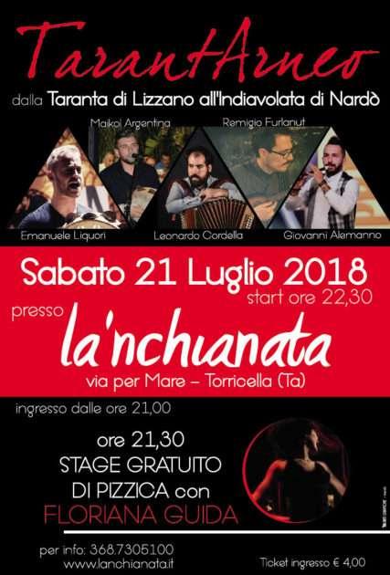 TarantArneo in concerto sabato 21 luglio a Torricella (Ta) al Popularia Festival 2018