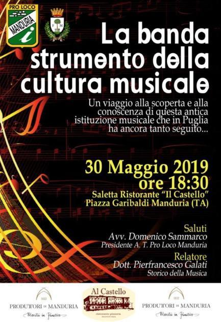 """""""La banda strumento della cultura musicale"""", un interessante seminario sulla cultura bandistica in Puglia domani a Manduria"""