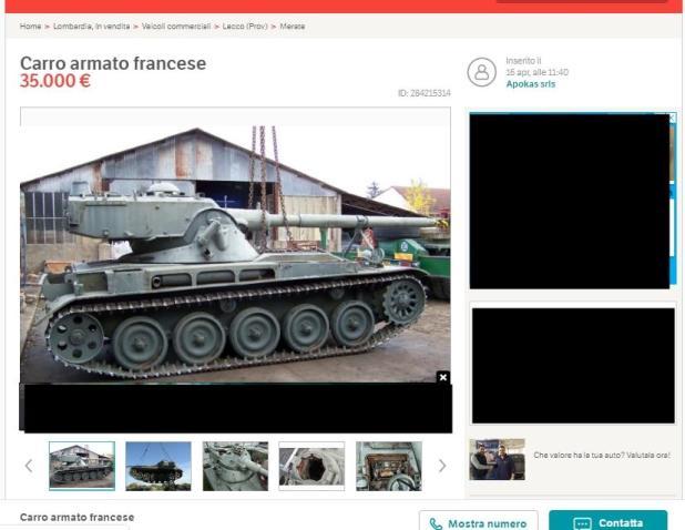 Di tutto di più, vendesi carro armato francese