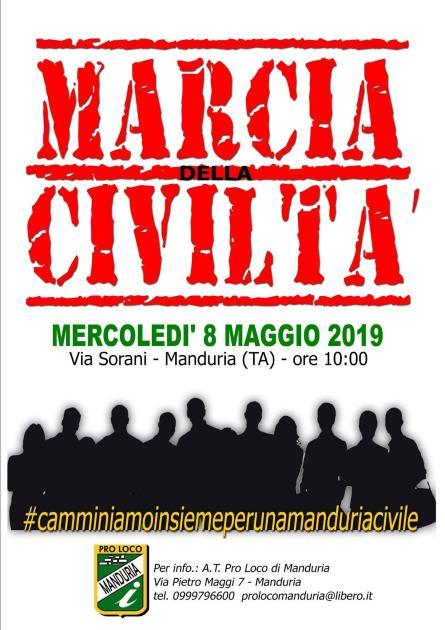 """Oggi a Manduria la  """"Marcia della civiltà"""", la nota stampa delle associazioni cittadine"""