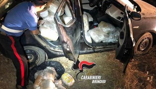 S.Pancrazio Salentino, trovato dai carabinieri carico di droga abbandonato con 300 chili di marijuana
