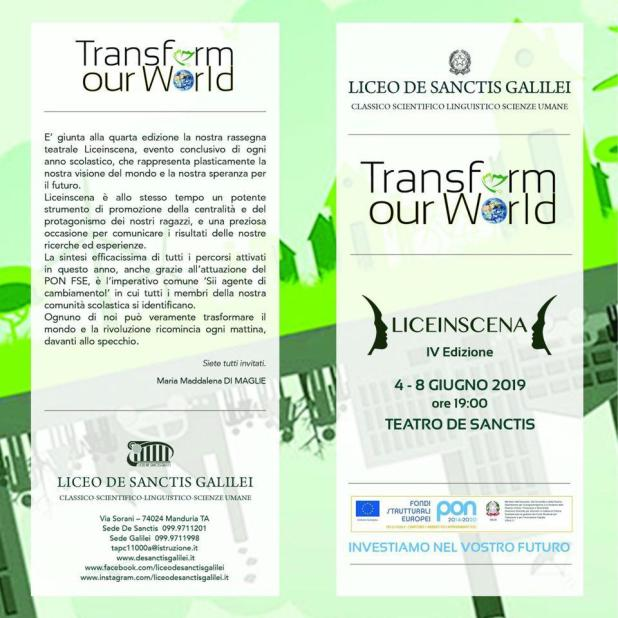 Liceo De Sanctis Galilei al via LICEINSCENA 'TRANSFORM OUR WORLD'