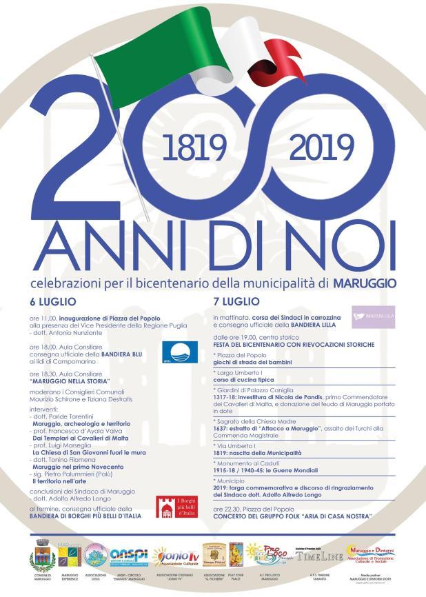 Al via il 6 e 7 luglio, le celebrazioni del bicentenario della municipalità di Maruggio