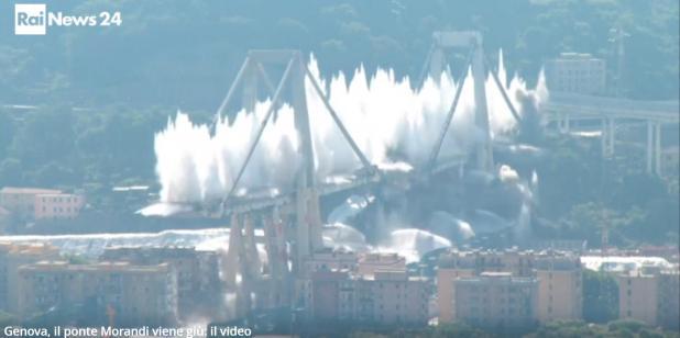 Genova, abbattuto quello che resta del ponte Morandi