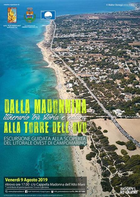 Il 9 Agosto: escursione guidata lungo il litorale ovest di Campomarino, dalla Madonnina alla Torre dell'Ovo